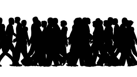 Silhouettes of people on a white background