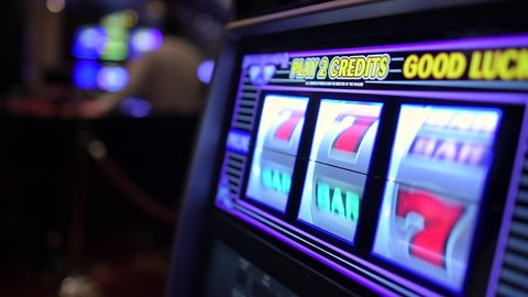 Spinning Slot Machine Drums. Las Vegas One Handed Bandit Slot Game. Slow Motion Footage