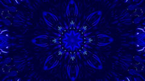 abstract motion background with kaleidoscope view with shapes of flowers that open and close with changing movement in shapes and blue, light blue and white colors