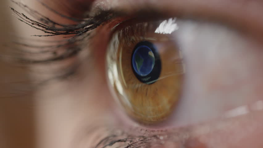 CLOSE UP, MACRO: Detailed computer screen reflection of Buenos Aires in woman's pretty amber eye. Unrecognizable woman with brown eyes making travel plans on computer while looking at the world map. | Shutterstock HD Video #1007327854