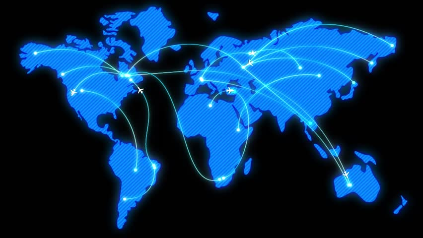 Blue glowing map of the world with flat animated airplanes and flight trajectories. Lot or arcs and lines, connecting points. Global air travel or business concept. Seamless loop with alpha channel.