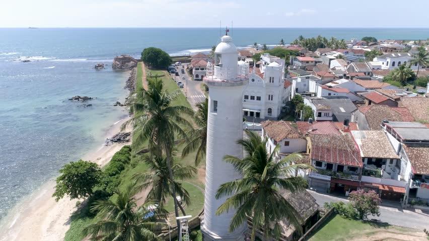 Aerial footage of a lantern in Galle, Sri Lanka. Slowmotion footage in 4k. #1007385754