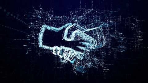 Handshake icon consisting of interactive digit and symbol. Hand shake icon in digital cyber space