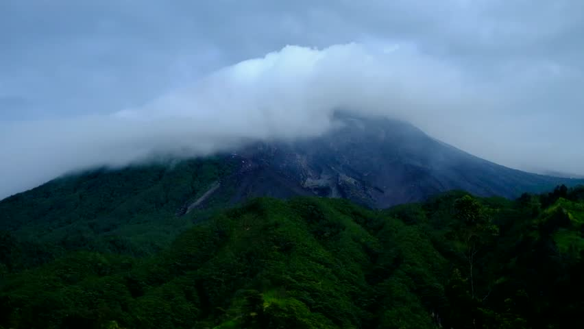 Movement of the clouds around Mount Merapi.