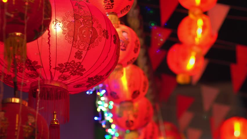Chinese new year lanterns in chinatown.   Shutterstock HD Video #1007463064
