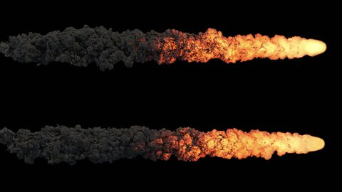 Meteor or asteroid trail fire and smoke, with alpha mask. Ready for compositing (4k, 3840x2160, ultra high definition) high detailed smoke