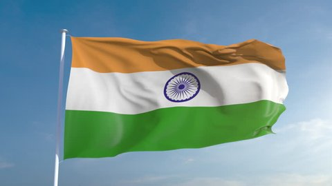 50fps India seamless looping flag in 4k, alpha channel included as matte. Beautiful detailed fabric waving in the wind. 4k. Slow motion in 25fps