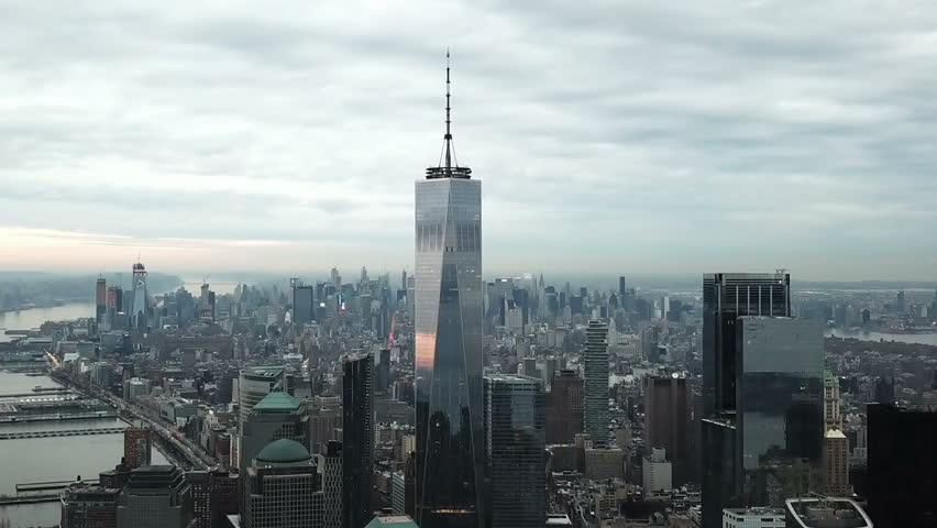 NEW YORK CITY - FEB 2, 2018: Freedom Tower aerial moving forward in 1080 HD Manhattan NYC. 1 World Trade Center is the primary structure at the new WTC site.