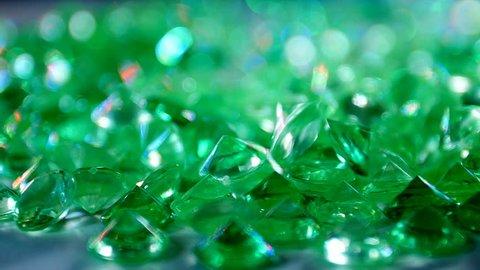 Emeralds. Precious Stones. Slow Motion