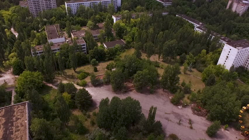 Aerial view. The city of Pripyat. The most radioactive city on the planet. Chernobyl Exclusion Zone