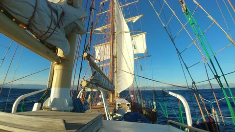 Sailing on tall ship with strong wind and niece weather
