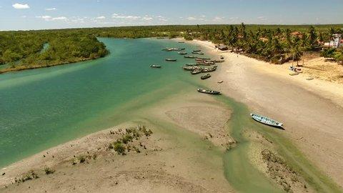 Aerial view os canoes on Guriú River, Jericoacoara, Ceará, Brazil