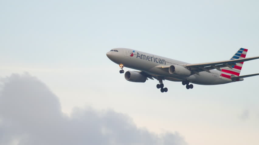 FRANKFURT AM MAIN, GERMANY - JULY 18, 2017: American Airlines Airbus A330 N289AY approaching at early morning, runway 07C. Fraport, Frankfurt, Germany