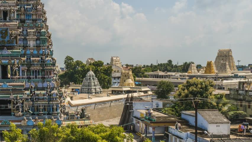 Kanchipuram - 08.10.2017: Kumarakottam temple in Kanchipuram and nearby street, India, 4k time lapse