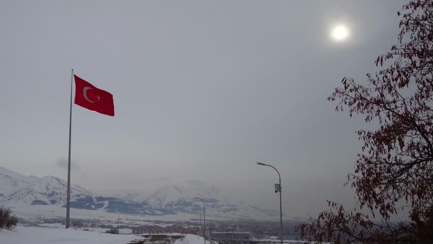 Turkish flag waving in Erzurum - TURKEY, Turkish flag Representative of the Republic of Turkey