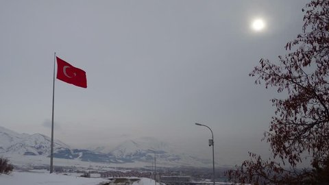 Turkish flag waving in Erzurum - TURKEY, Turkish flag Representative of the Republic of Turkey