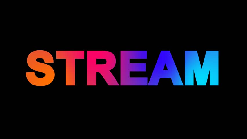 text STREAM multi-colored appear then disappear under the lightning strikes changing color. Alpha channel Premultiplied - Matted with color black