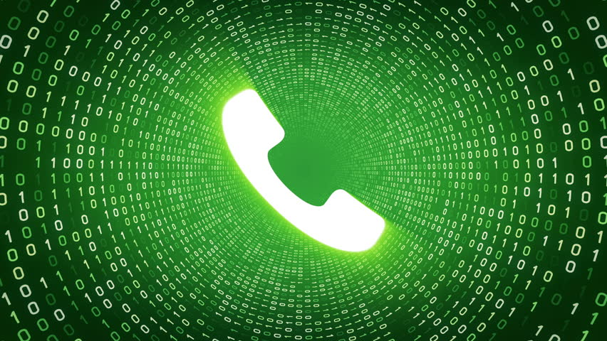 White ringing phone icon form white binary tunnel on green background. Seamless loop.  | Shutterstock HD Video #1007675641
