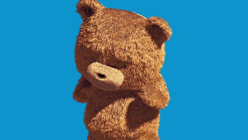 Teddy Bear Real Fur Attack Combat Blue Screen 3D Renderings Animations | Shutterstock HD Video #1007678644