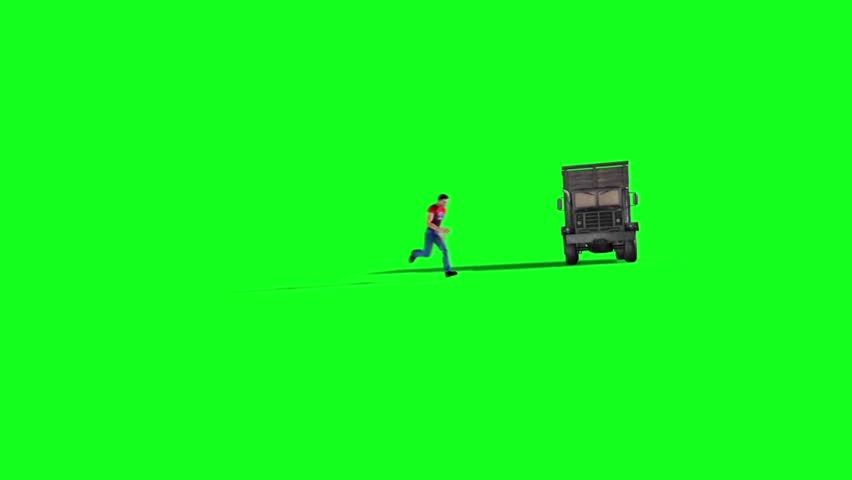 Action Movie Man Jumps Accident Truck Green Screen 3D Renderings Animations