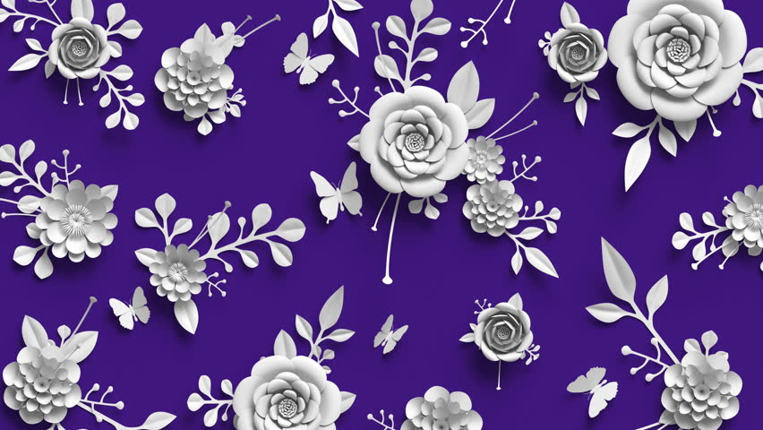 3d rendering, animation of growing flowers, floral background, blooming paper flowers, botanical pattern, paper craft, violet, 4k hd | Shutterstock HD Video #1007679754