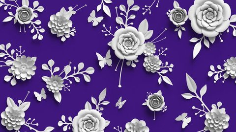 3d rendering, animation of growing flowers, floral background, blooming paper flowers, botanical pattern, paper craft, violet, 4k hd