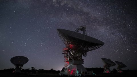 Radio Telescopes Working Together in Synchronization as the Milky Way Setting on the Horizon