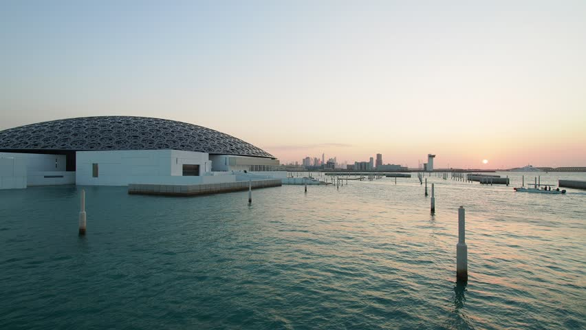 United Arab Emirates, Abu Dhabi - January 09, 2018: Louvre Museum at sunset.