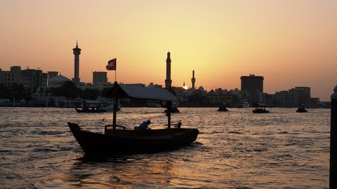 Abra Boats on Dubai Creek at sunset, Dubai, United Arab Emirates
