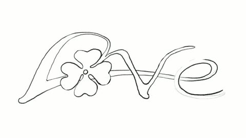 """Symbols for Fortune and Luck, Motion Clip of Illustration Hand Drawn Sketch of Fresh Three Leaf Clover Plants or Shamrock With """"Love"""" Word for Valentine's Day and St. Patricks Day Celebration."""