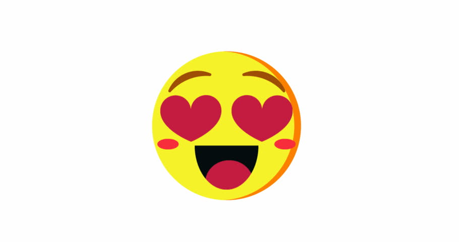 Cute Cartoon Emoji With Heart-Shaped Eyes