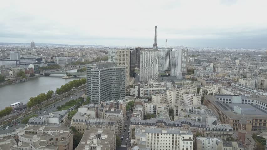 Aerial of Paris Eiffel Tower and Seine River | Shutterstock HD Video #1007822464