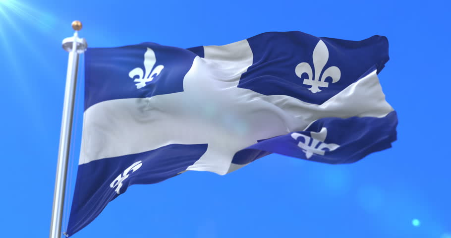 Flag of canadian province of Quebec, region of Canada, waving at wind - loop