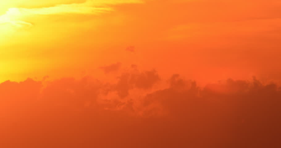 Colorful sunset sun set with billowy clouds silhouette time lapse (version 18)