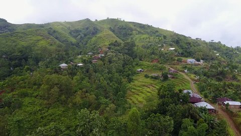 Drone shot aerial jungle mountain village rice fields and buildings on hills in Flores - Indonesia / Drone shot aerial jungle mountain village rice fields and buildings on hills in Flores - Indonesia