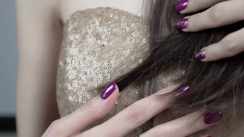 Beautiful Female Hands. Beautiful hand with perfect Manicure. Nail designs with decoration.Manicure nail paint.