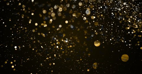christmas gold gradient sparkle glitter explosion transition dust particles from top on black background with bokeh flowing movement, golden holiday happy new year and valentine day love, relationship