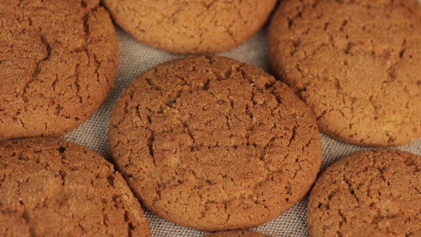 Macro Video of Healthy Food with Oatmeal Cookies or Oatcakes. Vegeterian Food Concept.