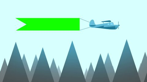 Flying Plane Carry a Sign in Cartoon Vector Style