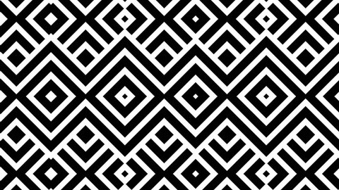 Black and white animated background featuring a seamless pattern of multiple dynamic square shapes. Perfect for masks,  overlays, mapping textures or as an elegant Art Deco background.