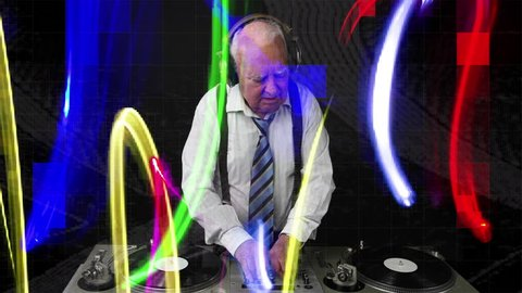 an amazing grandpa DJ, older man djing and partying in a disco setting. this version has intentional overlayed video distortion and glitch effects