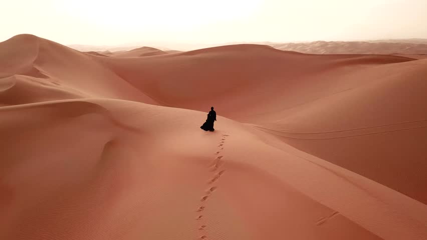 Young beautiful Caucasian woman walking in a traditional Emirati dress - abaya in Empty Quarter desert landscape. Abu Dhabi, UAE. | Shutterstock HD Video #1008054994