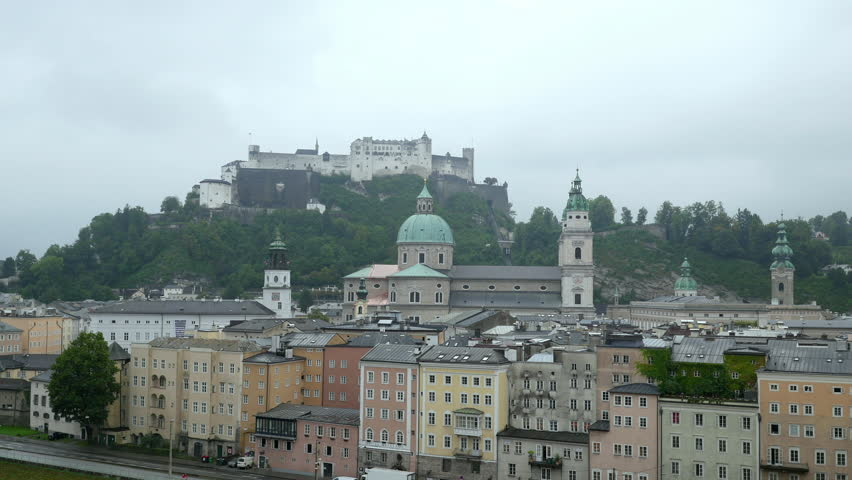 Timelapse video of Salzburg city with Festung Hohensalzburg at autumn time, Salzburg, Salzburger Land, Austria.