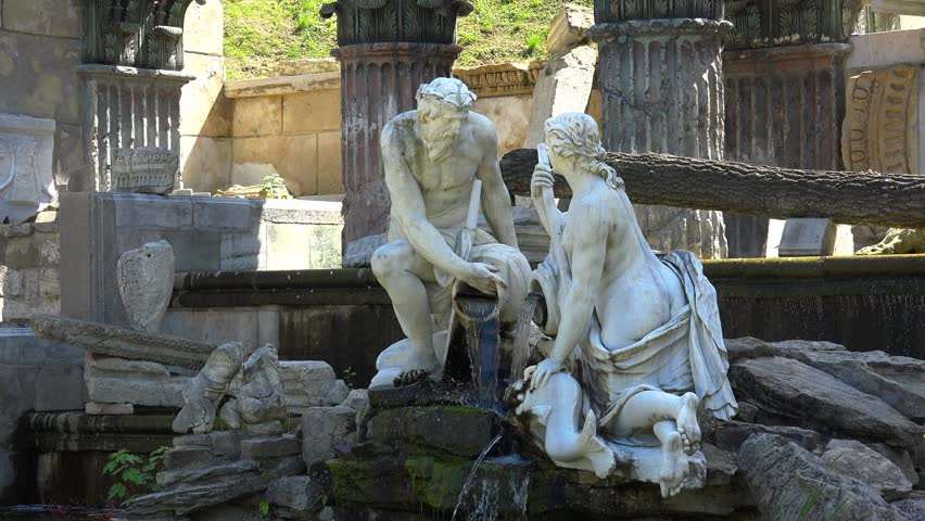 The Roman Ruins In The Schonbrunn Palace Garden. Vienna. Austria. Shot in 4K (ultra-high definition (UHD)).