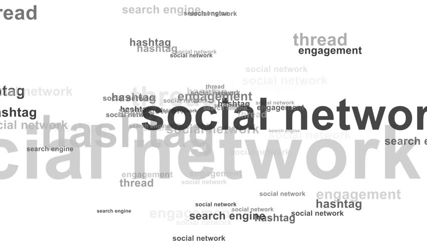 Word cloud / tag cloud / text array - web marketing (more than 30 business words, spreading arround animation) white background - black and greyish words