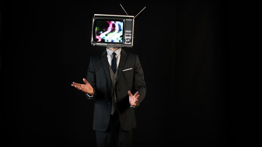 Mr tv head. cool man in a suit dancing with a television as a head. the tv is has video static and noise playing on it. | Shutterstock HD Video #1008088984