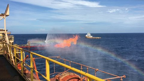 Well testing operation (flaring) of an oil rig