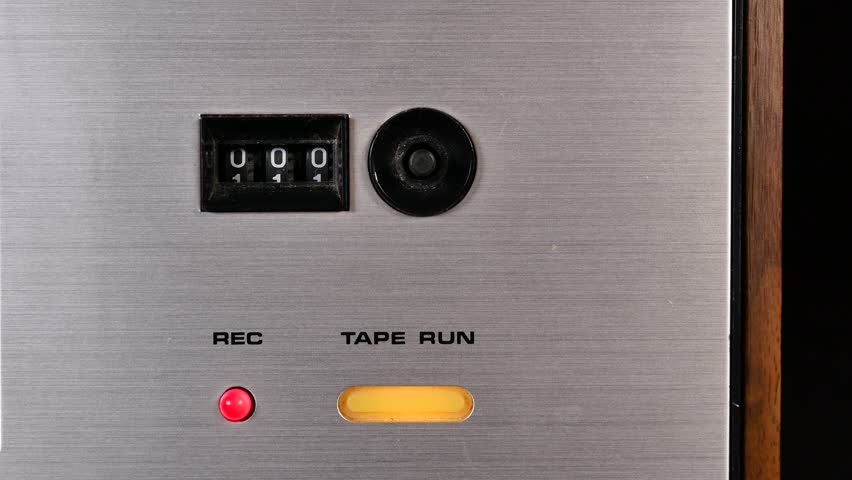 Mechanic counter of an old Tape recorder red light on close up | Shutterstock HD Video #1008131734