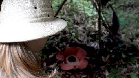 Female Tourist Looking at Rafflesia Flower