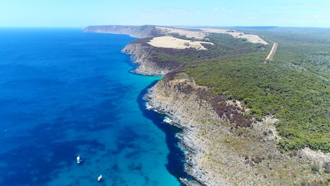 Aerial view of cliffs on Kangaroo Island, Scott Cove - Flinders Chase National Park - south Australia from above, 4k UHD
